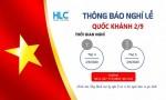 Lịch nghỉ lễ quốc khánh 2/9 công ty HLC Việt Nam